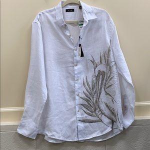 Tasso Elba L pelican print linen button down shirt
